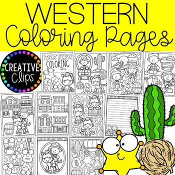 Western Coloring Pages (+writing papers) (Cowboy Coloring Pages)