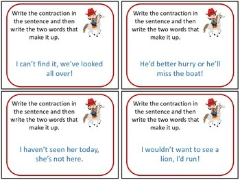 Western / Cowboy Contraction Task Cards