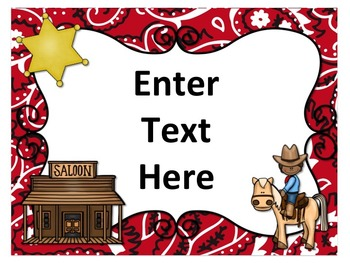 Western Cowboy / Cowgirl Themed Posters (Editable)