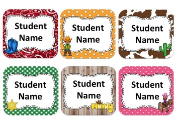 Western Cowboy/ Cowgirl Themed Student Name Cards {Editable}