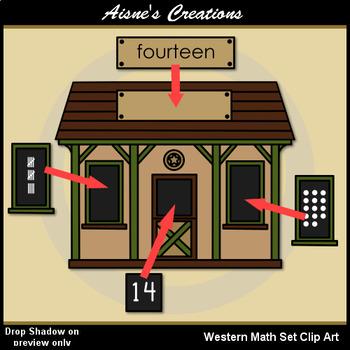 Western (Cowboy) Math Set Clip Art