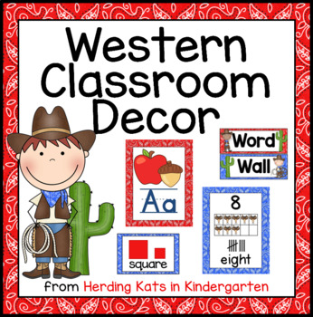 Western Cowboy Print Classroom Poster Bundle