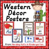 Western Cowboy Print Classroom Poster Bundle DNealian