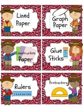 Western / Cowboy Theme Bandana Classroom Supply Labels