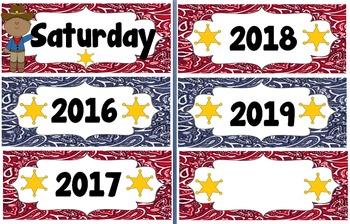 Western/ Cowboy Theme Calendar Pack (Bandana Print)