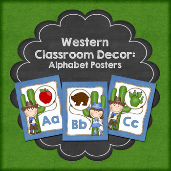 Western Cowboy Theme Classroom Decor Alphabet Posters