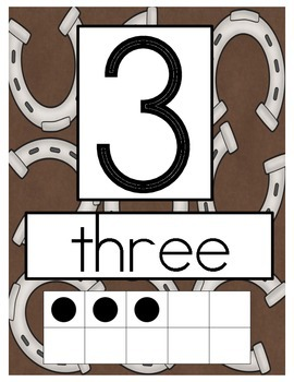 Western Cowboy Theme Number Posters with Ten Frames 0-10
