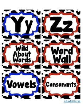 Western / Cowboy Theme Word Wall Headers Aa-Zz