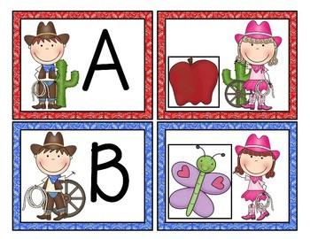 Western Cowboy Alphabet Match-Up