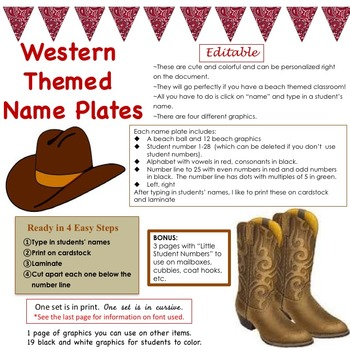 Western / Cowboy Themed Name Plate (editable)