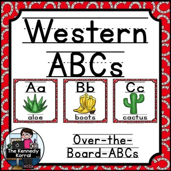Western / Cowboy Themed Over-the-Board Alphabet White Background