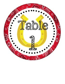 Western/ Cowboy Themed Table Numbers (only)