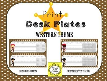 Western Cowboy and Cowgirl Theme Desk Tag