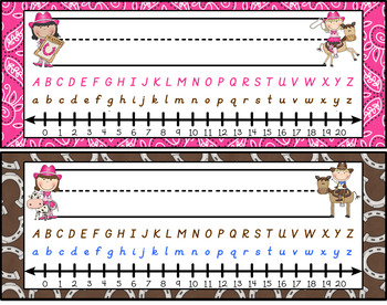 Western Cowboy (and girl!) Themed Nameplates in D'Nealian type font