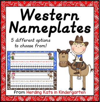 Western Cowboy (and girl!) Themed Nameplates in D'Nealian