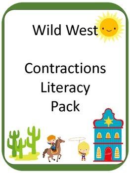 Western / Cowboys Contraction ELA Literacy Center GAMES