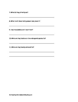 Western Diamondback Rattle Snake - Review Article Facts Questions Vocab Activity