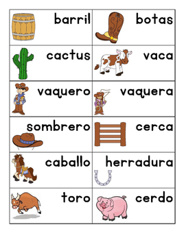 Western English and Spanish Words
