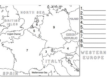 Western Europe Map Numbered to go with Western Europe Song
