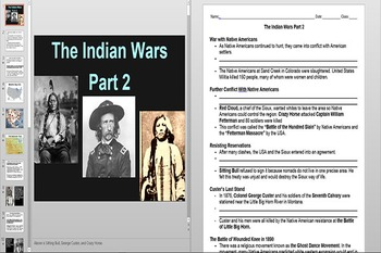 Western Expansion and The Indian Wars Powerpoint AND Notes Worksheet