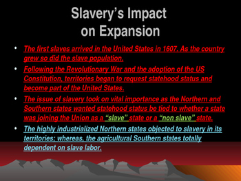 Western Expansion in the United States - Expansion Driven by Slavery Compromises