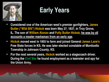 Western Expansion in the United States - Outlaws - Wild Bill Hickok