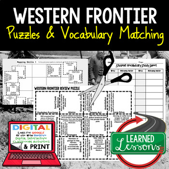 Western Frontier Vocabulary Activity Puzzle (Print and Digital)