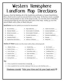 Western Hemisphere Landform Map Directions