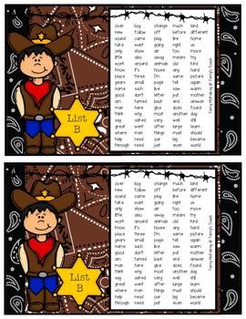 Western Literacy First Sight Word Lists K, A & B