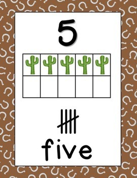 Western Print Classroom Posters Numbers from 0 - 20