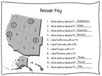 Western States Map Quiz by Frazzled and Fabulous | TpT