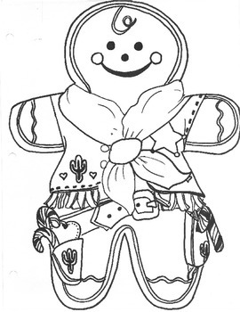 Western Style Gingerbread Men Coloring Sheet