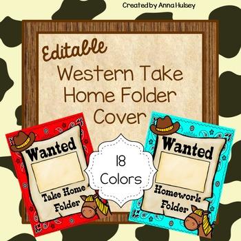 Western Take Home or Homework Folder Covers (Editable)