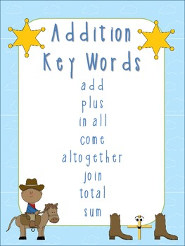 Western Theme Addition and Subtraction Key Word Posters