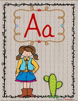 Western Theme Alphabet Poster Set – Contemporary Print Version