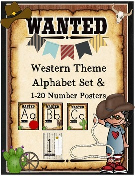 Western Theme Alphabet Set and 1-20 Number Cards Country Western Decor