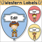 Western Theme Birthday Balloon Labels - Cowboy and Cowgirl