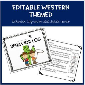 EDITABLE Western Theme: Behavior Log Cover and Inside Parent Letter
