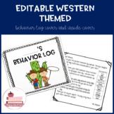 EDITABLE Western Theme: Behavior Log Cover and Inside Pare