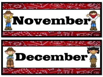 Western Theme Calendar Months