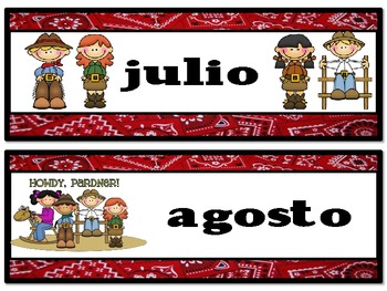 Western Theme Calendar Months - SPANISH version