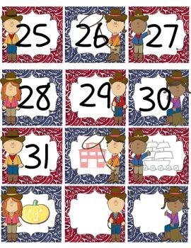 Western Theme Calendar Numbers (Bandana Print)