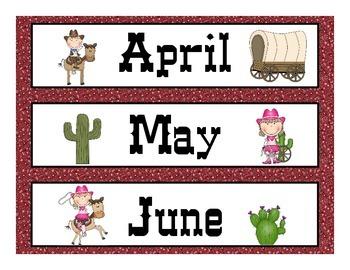 Western Theme Calendar Set