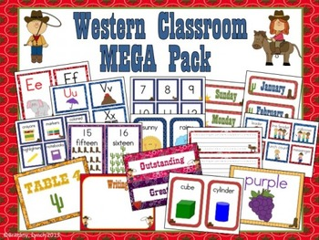 Western Theme Classroom Decor (editable)
