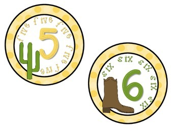Classroom Numbers 1-10 Western Theme