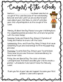 Western Theme: Cowboy and Cowgirl of the Week Parent Letter and Award