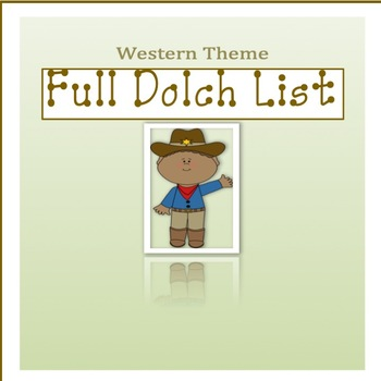 Western Theme Full Dolch List Flash Cards