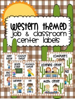 Western Theme Job & Center Area Printables