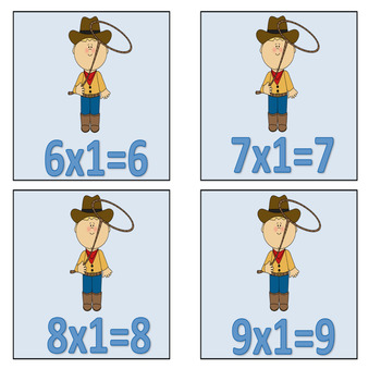 Western Theme Multiplication facts with answers