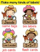Western Theme Name Tags Labels - Cowboy and Cowgirl